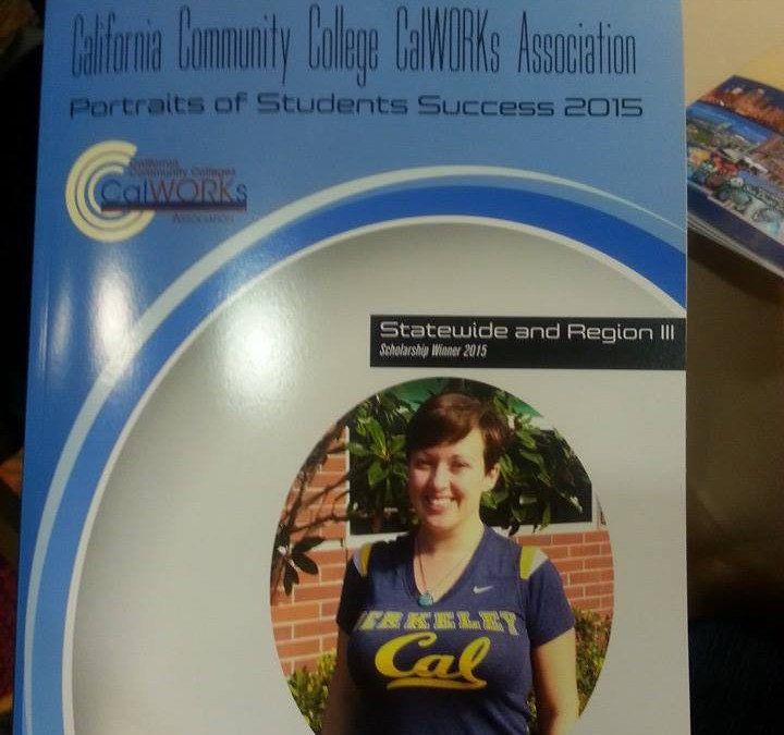 Caroline Watson on front cover of California Community College CalWORKS Association magazine