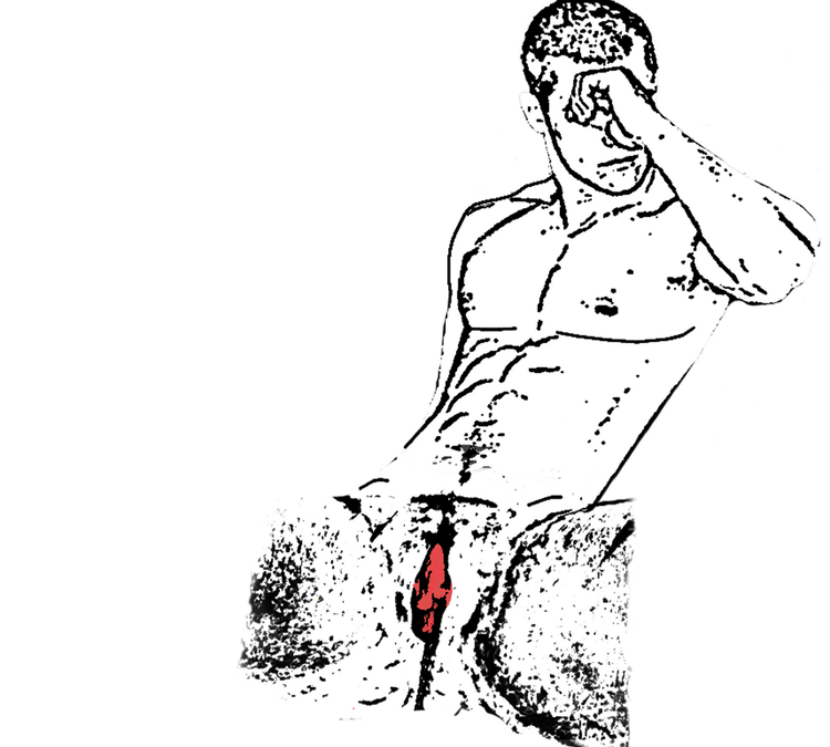 sketch of a naked trans man with a bleeding vagina