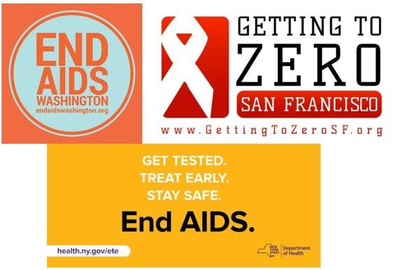 End AIDS Washington, Getting to Zero San Francisco, End AIDS NY logos