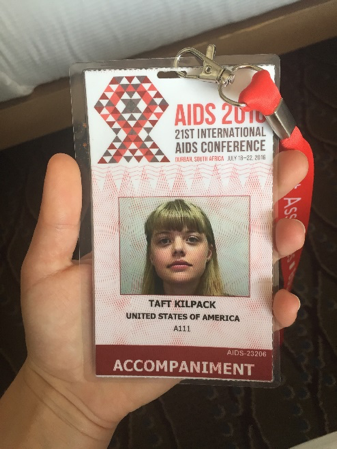 Taft's AIDS 2016 conference badge