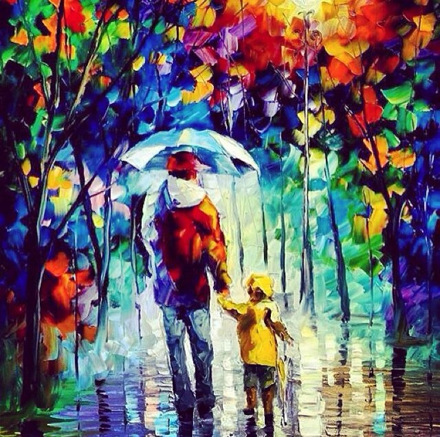 colorful painting of dad walking with small child in the rain