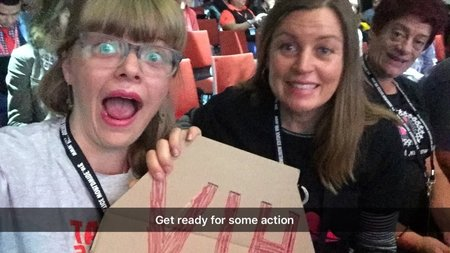 """Taft and Shannon look excited; text reads """"Get ready for some action"""""""