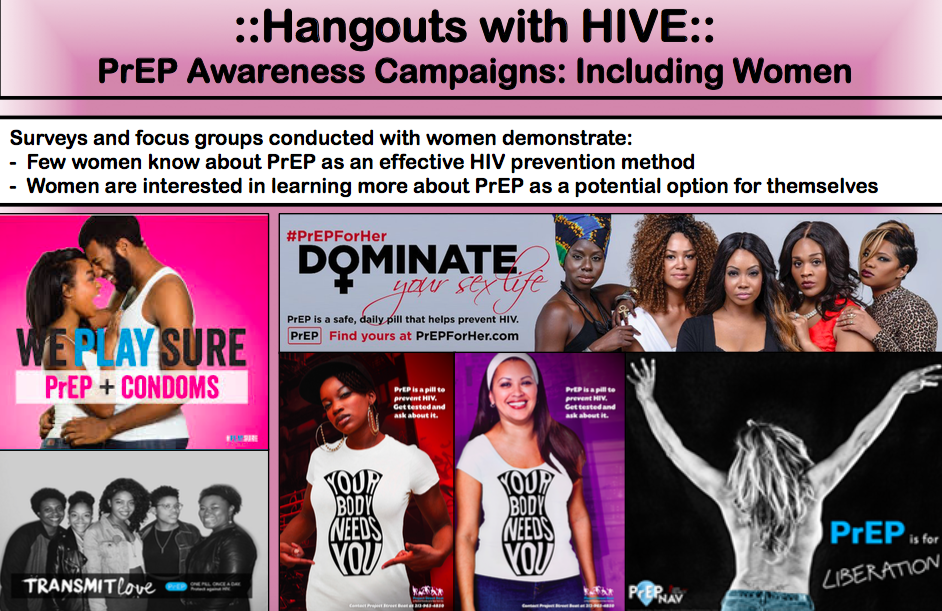 Hangouts with HIVE: PrEP Awareness Campaigns: Including Women flyer