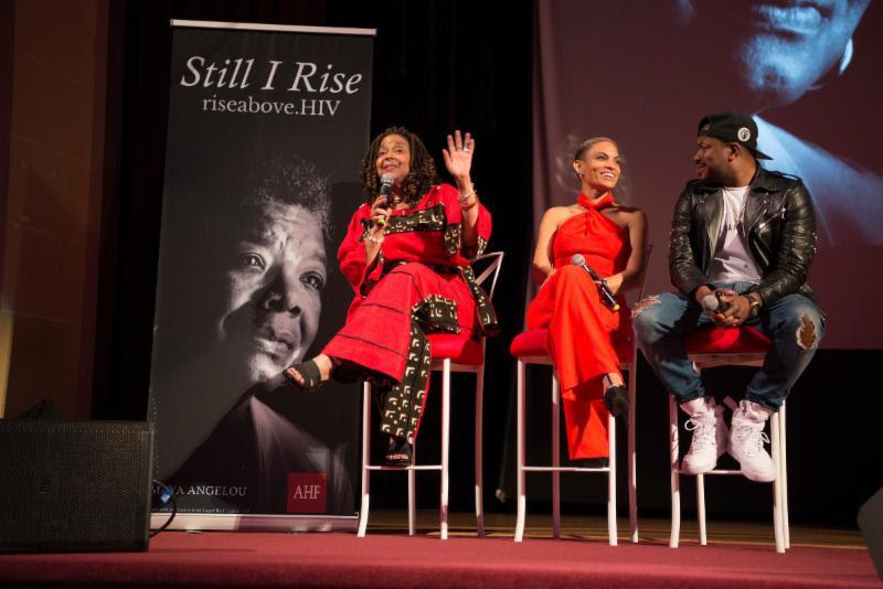 Cynthia Carey-Grant, Goapele, and Raheem DeVaughn onstage at #RiseAbove