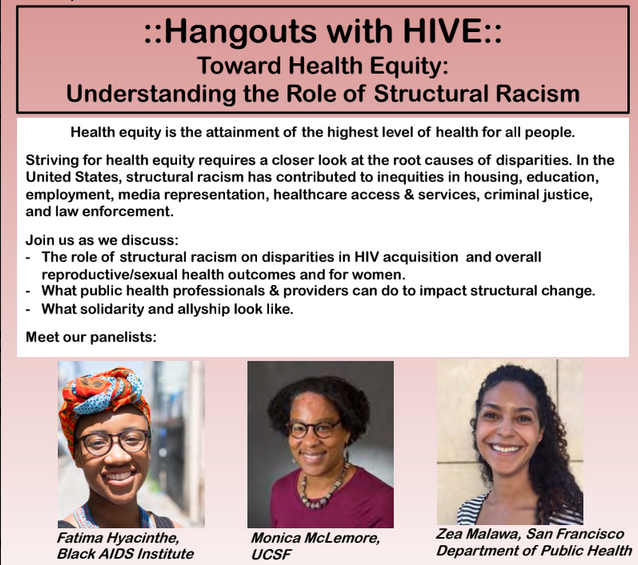 "Hangouts with HIVE: ""Toward Health Equity: Understanding the Role of Structural Racism"" flyer"
